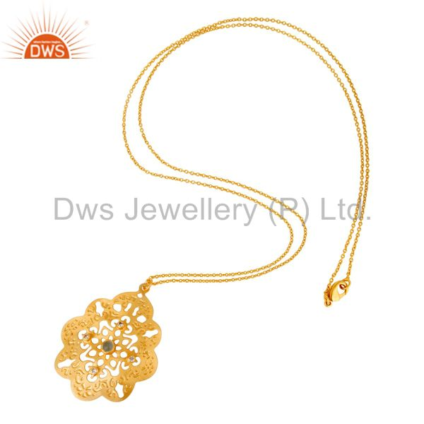 Suppliers Handcrafted Filigree Desiger 24K Gold Plated Aqua Chalcedony Pendant Necklace