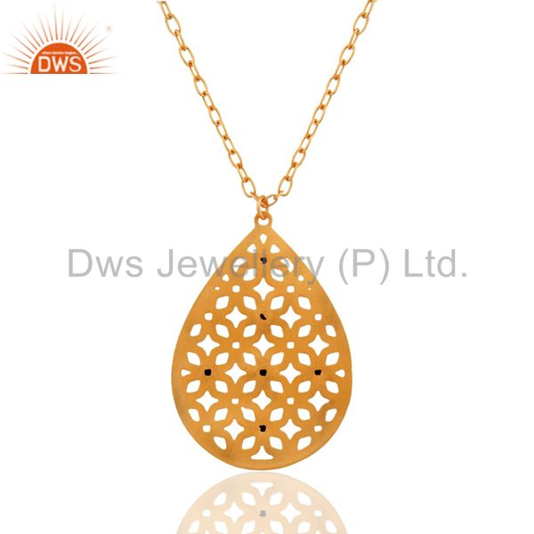 Suppliers Beautifully Handcrafted Filigree Design Gold Plated Turquoise Pendant Necklace