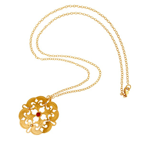 Suppliers Coral Cultured And Cubic Zirconia Pendant Chain Made In 18K Yellow Gold On Brass