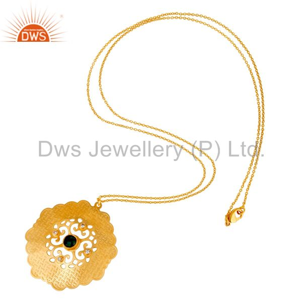 Suppliers 18K Gold Plated Brass Green Onyx And CZ Fashion Disc Pendant With Chain