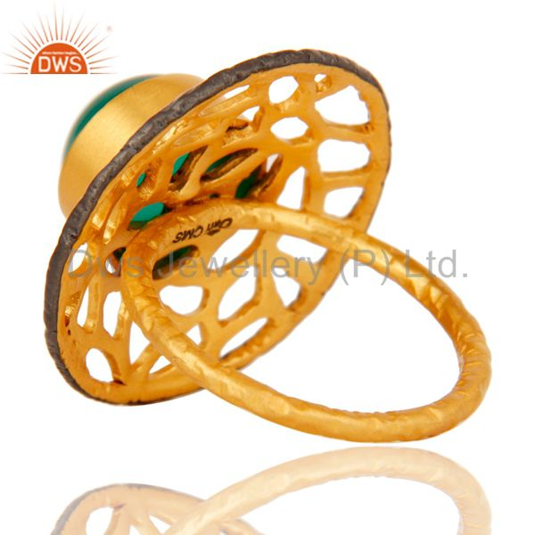 Suppliers 18kt Yellow Gold Plated Solid Metal Brass Round Green Onyx Cocktail Ring