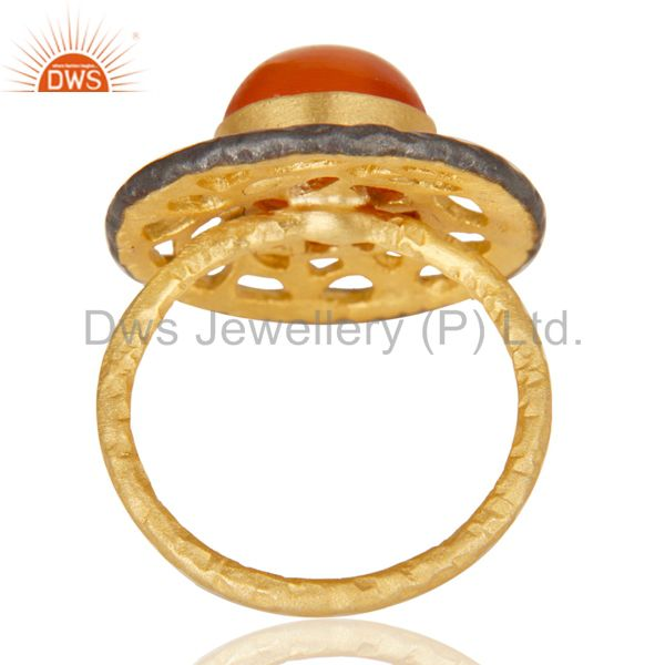 Suppliers 14K Yellow Gold Plated Handmade Wide Round Peach Moonstone Cocktail Brass Ring