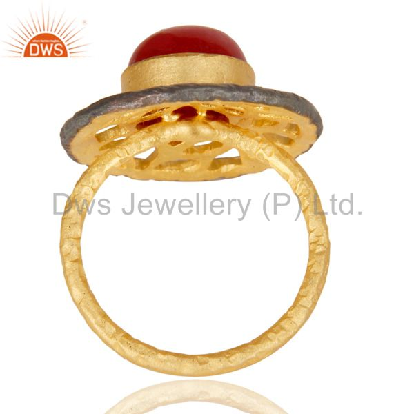 Suppliers 14K Yellow Gold Plated Handmade Wide Natural Red Aventurine Cocktail Brass Ring