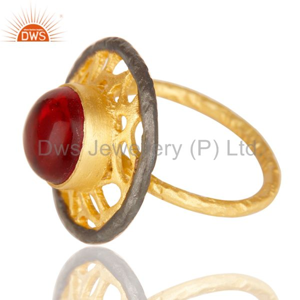 Suppliers 14K Yellow Gold Plated Handmade Wide Round Glass Pink Cocktail Brass Ring