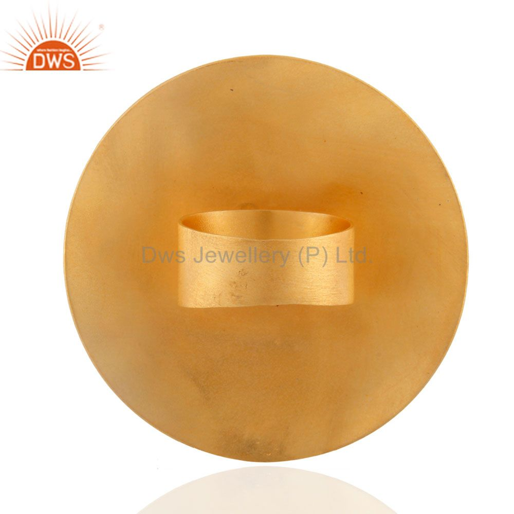 Suppliers Hot New Fashion 18K Gold Plated Turquoise Gemstone Large Round Party European R