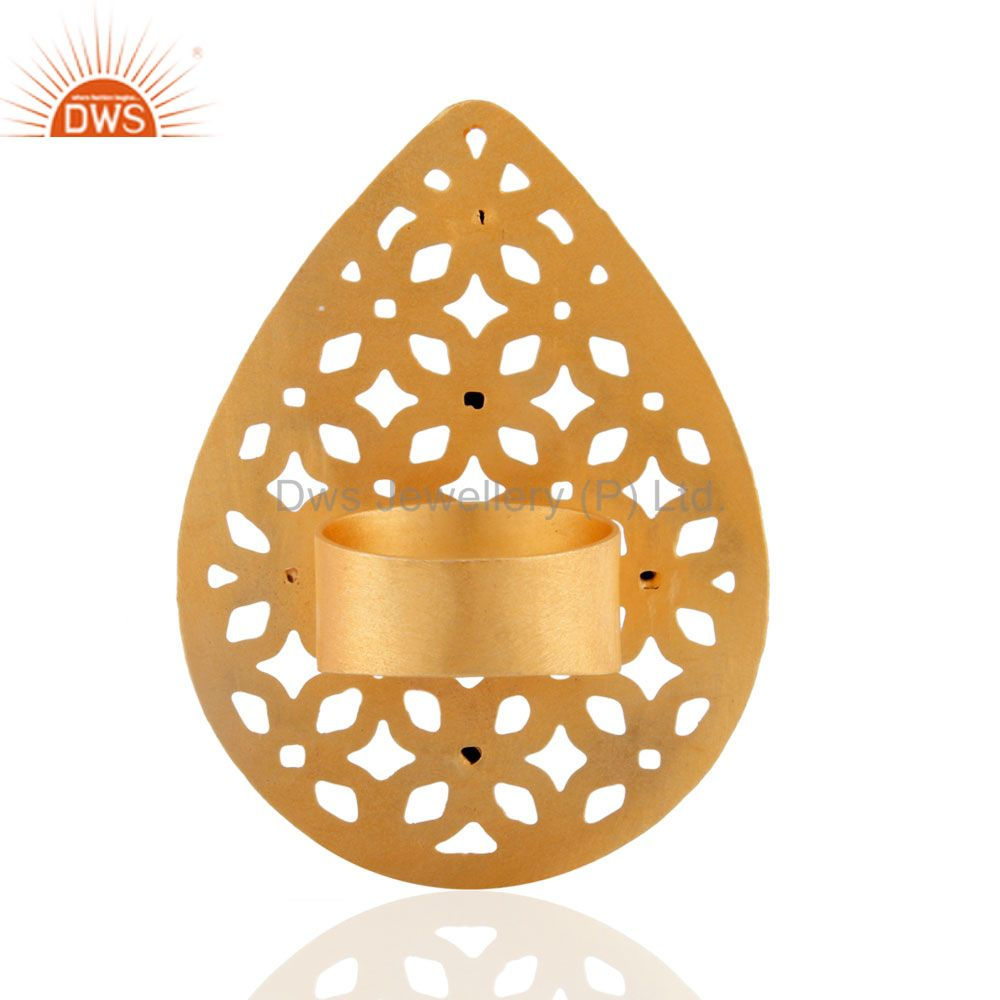 Suppliers New Designer Collection 18k Gold Plated Turquoise Gemstone Filigree Fashion Ring