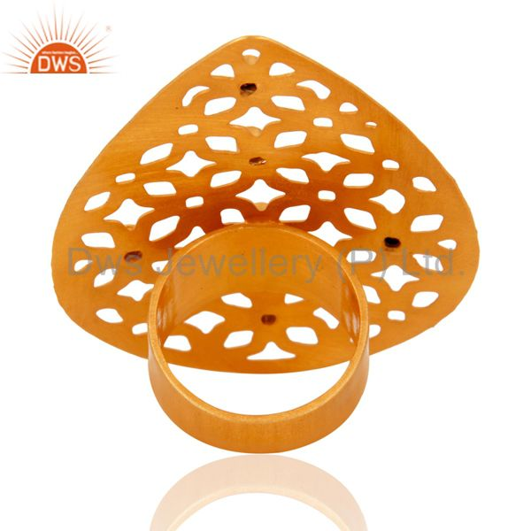 Suppliers Handmade 24k Gold Plated Filigree Floral Design White Cubic Zirconia Ring