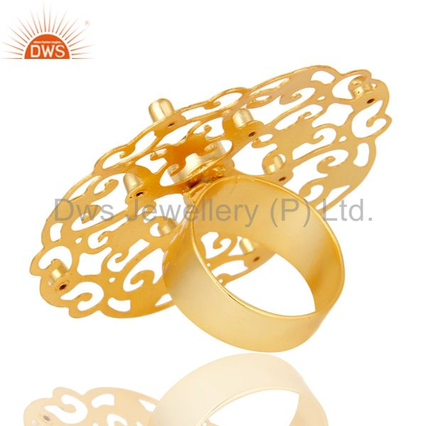 Suppliers 18K Gold Plated Round Lemon Topaz & White Zirconia Modern Filigree Cocktail Ring