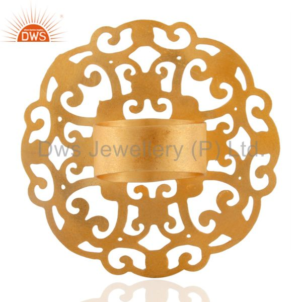 Suppliers 18k Yellow Gold Plated Large Round Filigree Modern Party Wear Rings