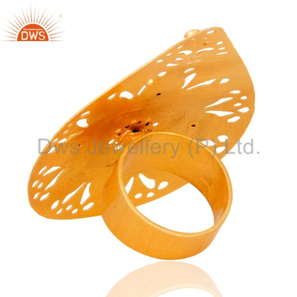 Suppliers Green Aventurine 22K Yellow Gold Plated Modern Fashion Designs Cocktail Ring