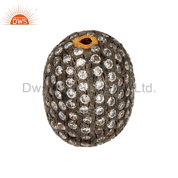 Suppliers White Cubic Zirconia 18K Yellow Gold Plated Beads Charm For Jewelry Making