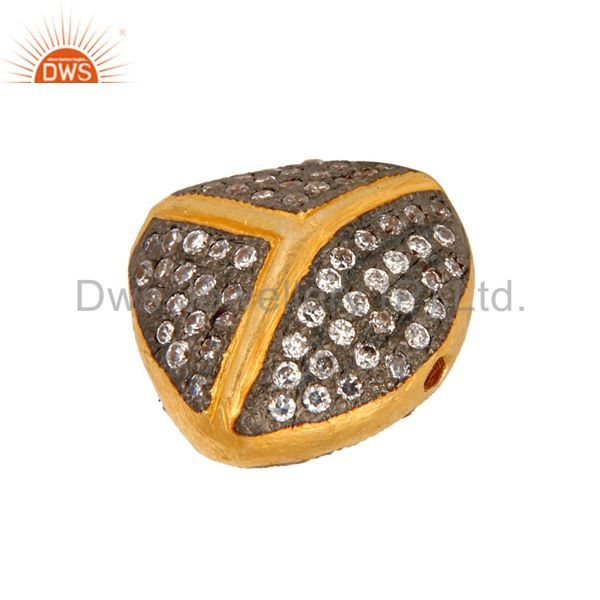 Suppliers 18K Yellow Gold Plated Over Brass Beads With White Cubic Zirconia