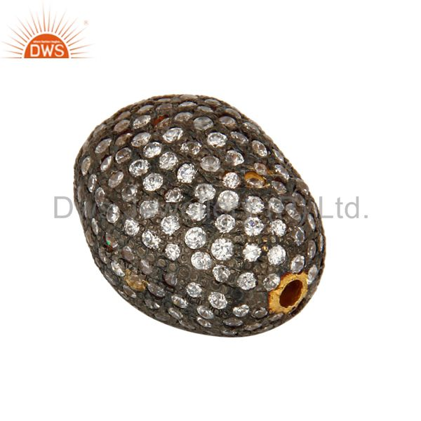 Suppliers 18K Yellow Gold Plated White Cubic Zirconia Designer Beads Jewelry