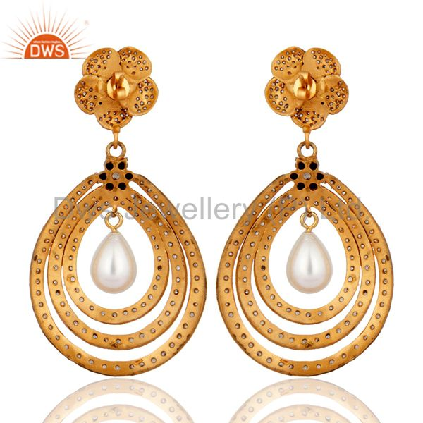 Suppliers Gold Plated Cubic Zirconia And Pearl Bridal Fashion Vintage Style Earrings