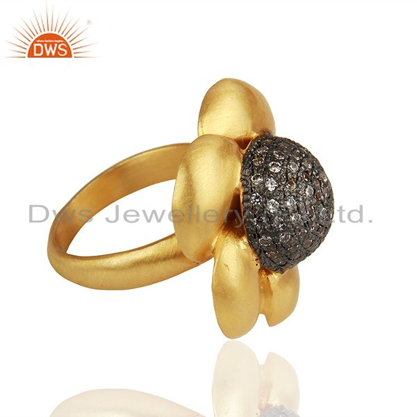 Suppliers 22K Yellow Gold Plated Brass Cubic Zirconia Designer Cocktail Ring