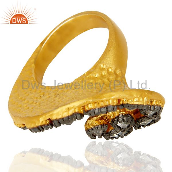 Suppliers 22K Yellow Gold Plated Brass Cubic Zirconia Designer Fashion Ring