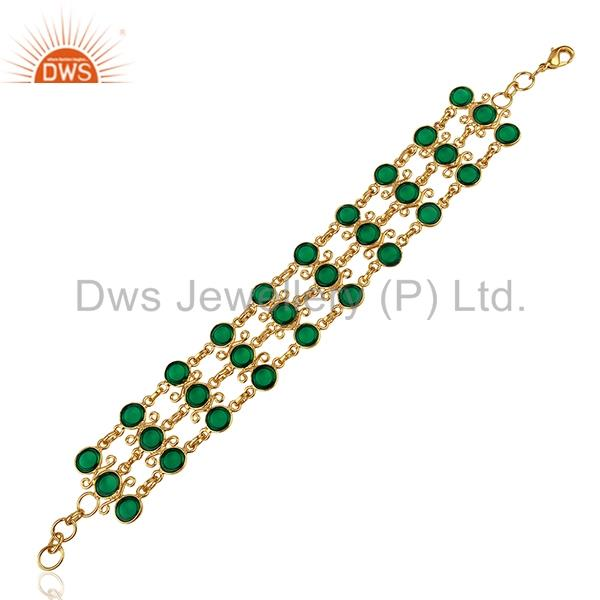 Suppliers Hydro Emerald Gemstone Gold Plated Brass Chain Bracelet Jewelry