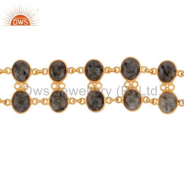 Suppliers Gorgeous Handmade 18K Yellow Gold Plated Gemstone Tourmalinated Quartz Bracelets