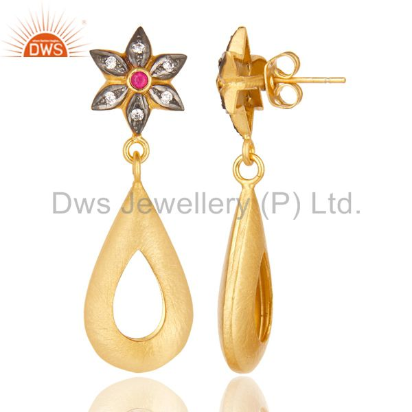 Suppliers 14K Yellow Gold Plated Handmade Red & White Zirconia Dangle Brass Earrings