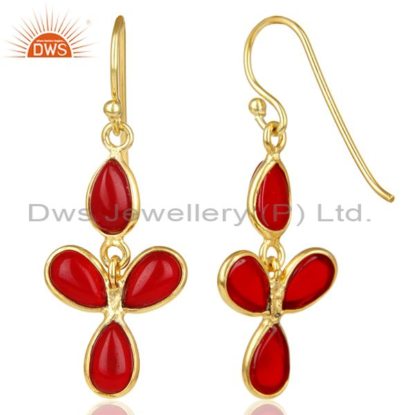 Suppliers 18K Yellow Gold Plated Handmade Red Hydro Stone Bezel Set Drops Earrings