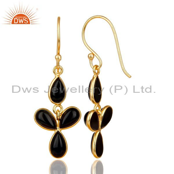 Suppliers 18K Yellow Gold Plated Handmade Black Onyx Bezel Set Drops Brass Earrings