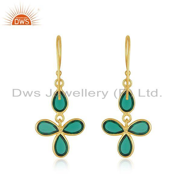Designers 22K Yellow Gold Plated Brass Dyed Green Emerald Fashion Dangle Earrings