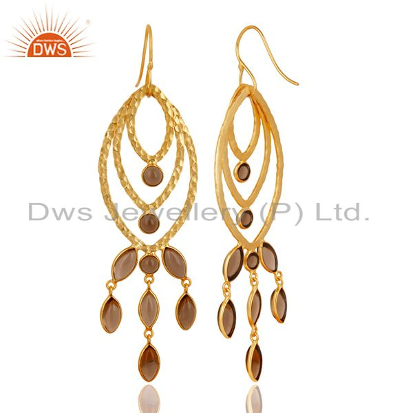 Suppliers Traditional Handmade 14K Gold Plated Smokey Topaz Chandelier Brass Earrings