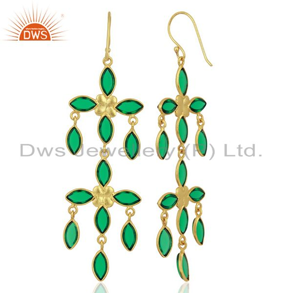 Suppliers Green Stone Handmade Long Dangle 14K Gold Plated Fashion Earring