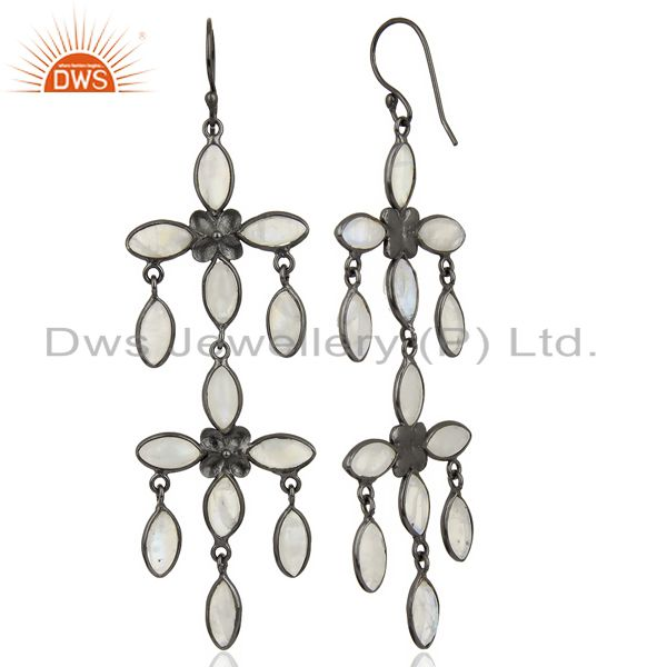 Suppliers Natural Rainbow Moonstone Designer Chandelier Earrings Made In Oxidized Brass