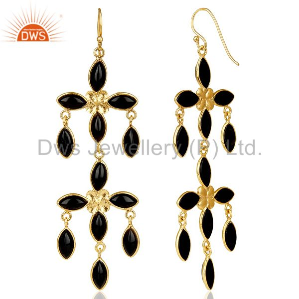 Suppliers 14K Gold Plated Traditional Handmade Natural Black Onyx Chandelier Earrings
