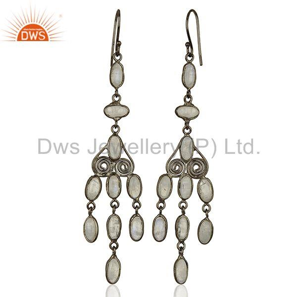 Suppliers Rhodium Plated Rainbow Moonstone Fashion Earrings Jewelry Supplier