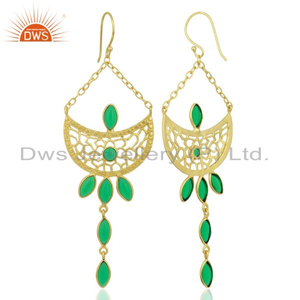 Suppliers Green Stone Long Filigreen 14K Gold Plated Fashion Earring