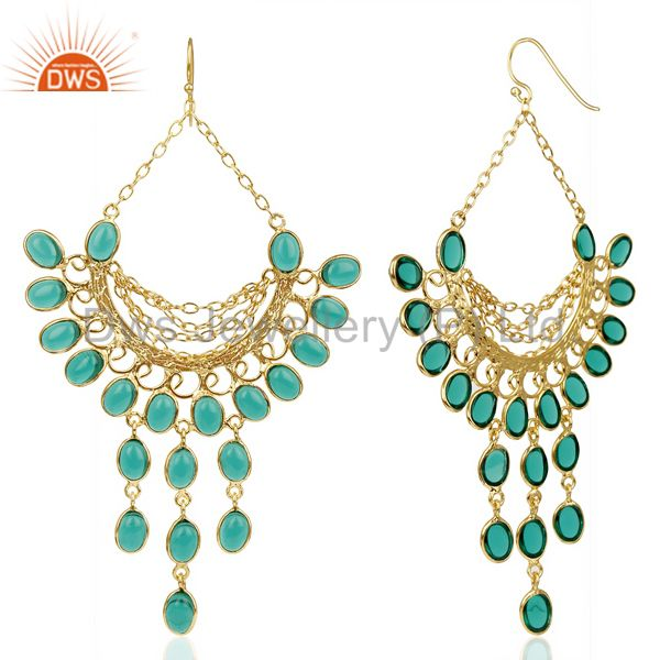 Suppliers 14K Gold Plated Traditional Handmade Hydro Emerald Chandelier Dangle Earrings