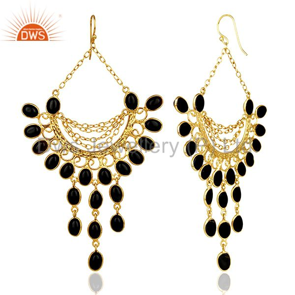 Suppliers Black Honeycomb Large Dangle Gold Plated Fashion Earring Gift Jewelry
