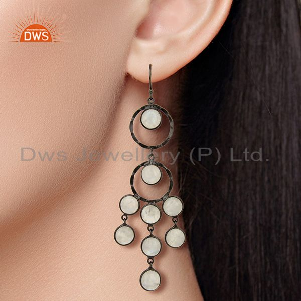 Suppliers Handcrafted Oxidized Brass Rainbow Moonstone Designer Chandelier Earrings