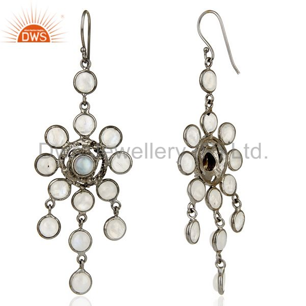Suppliers Handcrafted Oxidized Brass Rainbow Moonstone Bridal Chandelier Earrings