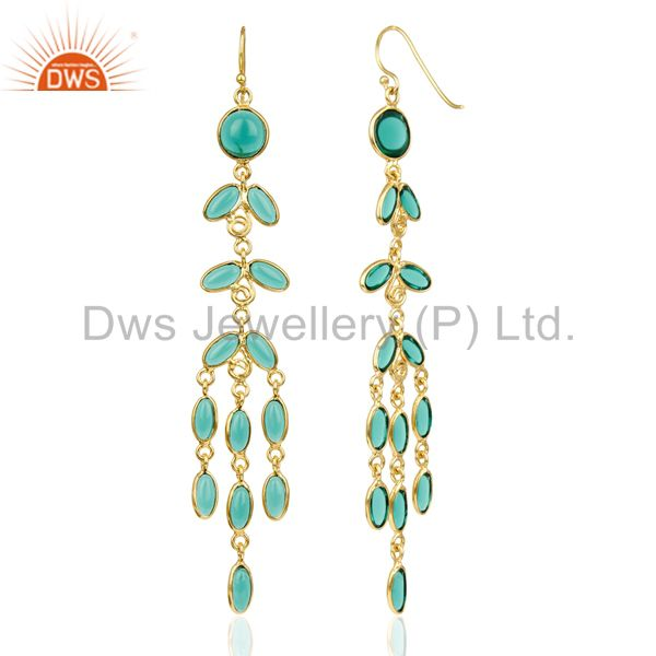 Suppliers 14K Gold Plated Traditional Handmade Hydro Emerald Chandelier Fashion Earrings