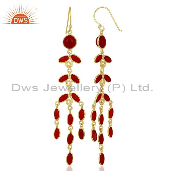 Suppliers Red Hydro Long Leaf Pattern Gold Plated Fashion Wholesale Jewelry