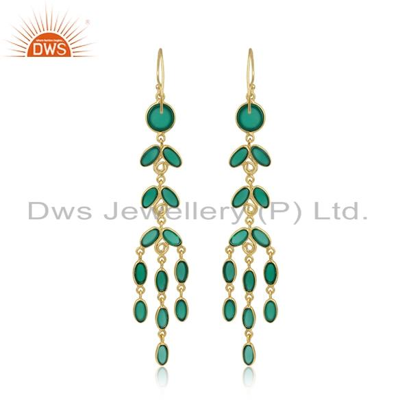 Designer of Designer handcrafted gold plated fashion long earring green onyx