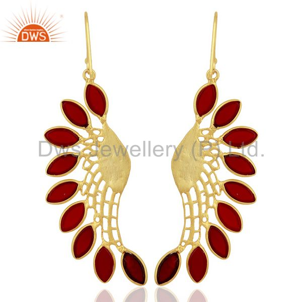 Suppliers Red Hydro Wing Earring 14K Gold Plated Brass Fashion Jewelry
