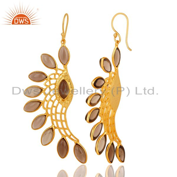 Suppliers 14K Gold Plated Traditional Handmade Smokey Topaz Bezel Set Dangle Brass Earring