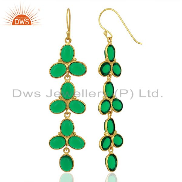 Green Hydro flower Pattern Bezel 14K Gold Plated Fashion Jewelry From Jaipur India