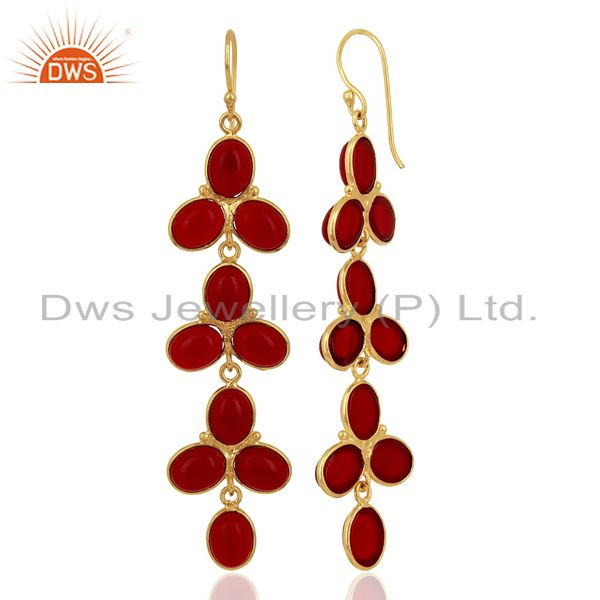 Red Hydro flower Pattern Bezel 14K Gold Plated Fashion Jewelry From Jaipur India
