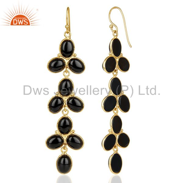 Suppliers 14k Yellow Gold Plated Traditional Handmade Natural Black Onyx Dangle Earrings