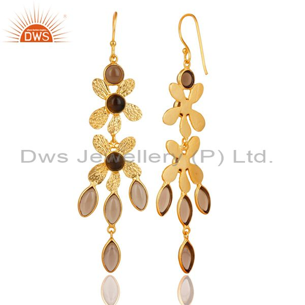 Suppliers 14K Yellow Gold Plated Handmade Smokey Pear & Round Cut Dangle Brass Earrings