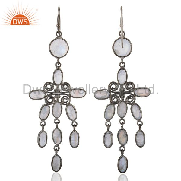 Suppliers Chandelier Dangle Earrings Bezal Set Top Rainbow Moonstone Fashion Women Rhodium