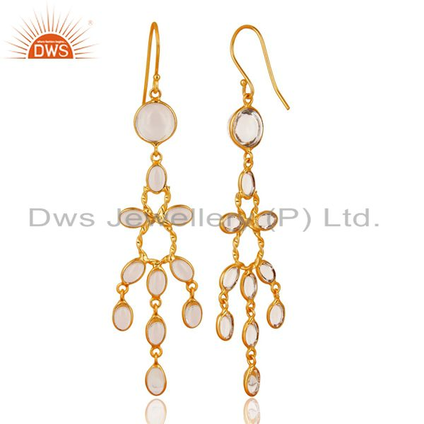 Suppliers 14K Gold Plated Handmade Crystal Quartz Bridal Party Wear Hook Brass Earrings