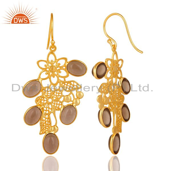 Suppliers 14K Gold Plated Handmade Handmade Flower Design Smokey Topaz Bezel Brass Earring