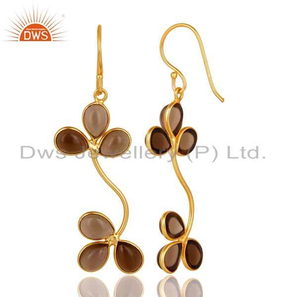 Suppliers Traditional Handmade Smokey Gemstone Dangle Earrings Made In 22K Gold Over Brass