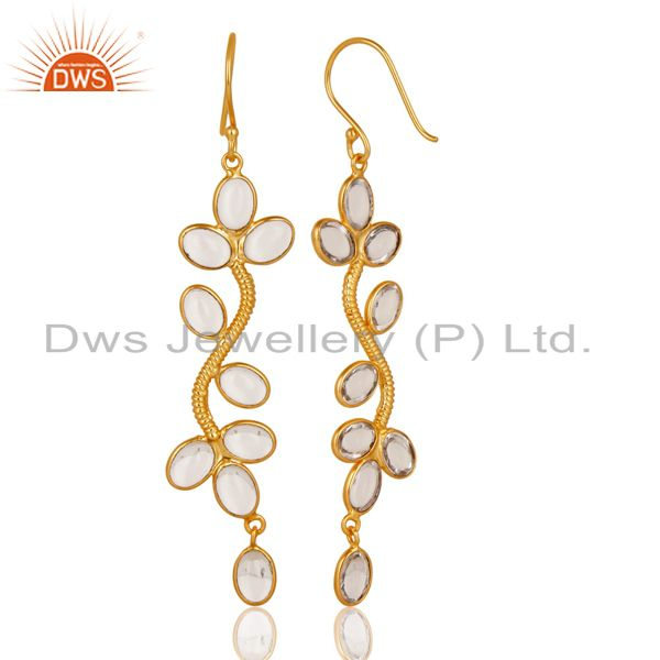 Suppliers 14K Yellow Gold Plated Handmade Crystal Quartz Bezel Set Dangle Brass Earrings